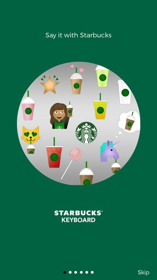 """Starbucks Keyboard"" emoji via iMessage, WhatsApp, Facebook Messenger, email and more"