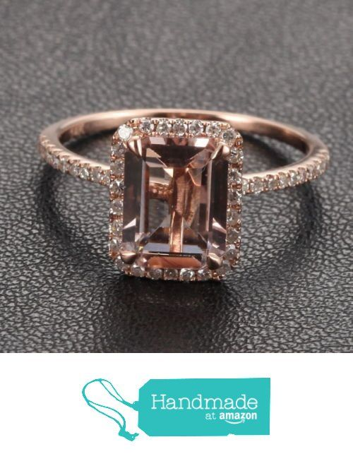 Emerald Cut Morganite Engagement Ring Pave Diamond Halo 14K Rose Gold 6x8mm from the Lord of Gem Rings https://www.amazon.com/dp/B01GXFF9HE/ref=hnd_sw_r_pi_dp_H7dHxb7BYJ706 #handmadeatamazon
