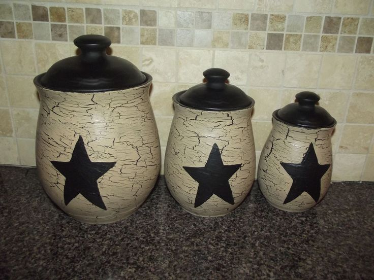 Primitive Le Ceramic Set Of 3 Canisters Black Stars Country Decor Naiveprimitive