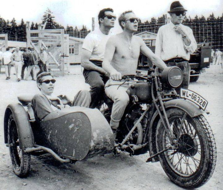 James Coburn, James Garner and Steve McQueen escaping from The Great Escape - Imgur