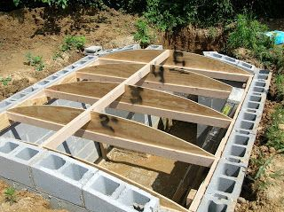 Root Cellar - the author said it cost about $1,000 for this 8x8 foot cellar: concrete blocks were $1 each at the time, and he used about 320. About $500 for concrete and mortar, and the remainder for rebar, wood, etc. He contacted a local gravedigger to use a backhoe to dig out the space for the cellar.