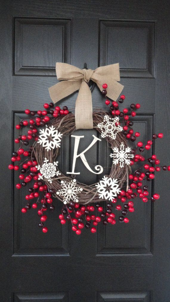Rustic Cozy Christmas Wreath With Large Holly Berries, Wooden Snowflakes, and Wooden Monogram Initial