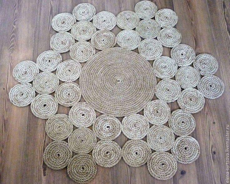 """Купить Коврик """"Первоцветы"""" - бежевый, коврик, интерьерный коврик, натуральный коврик, джутовый ковер, джут"""