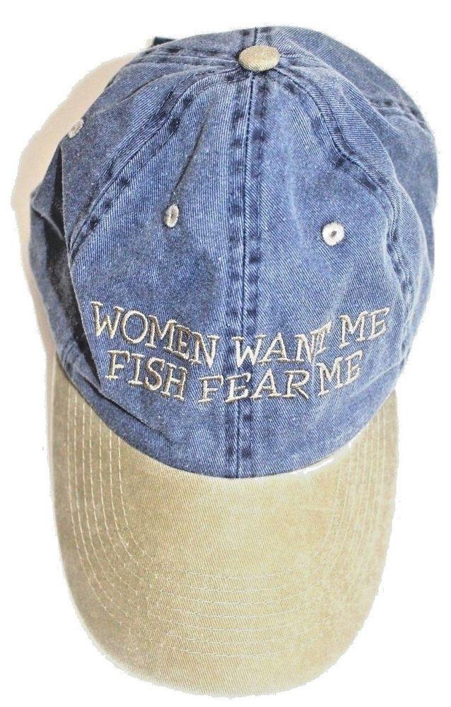 63fe8a74 Women Want Me, Fish Fear Me Distinctive Headwear Blue Tan Twill Baseball  Cap Hat #DistinctiveHeadwear #BaseballCap