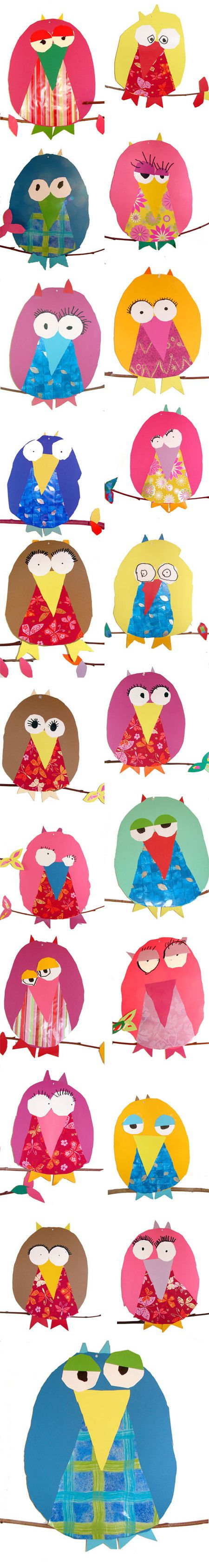 Children's craft table: Provide owl shapes and templates of the eyes and beak to trace and cut out on their own.