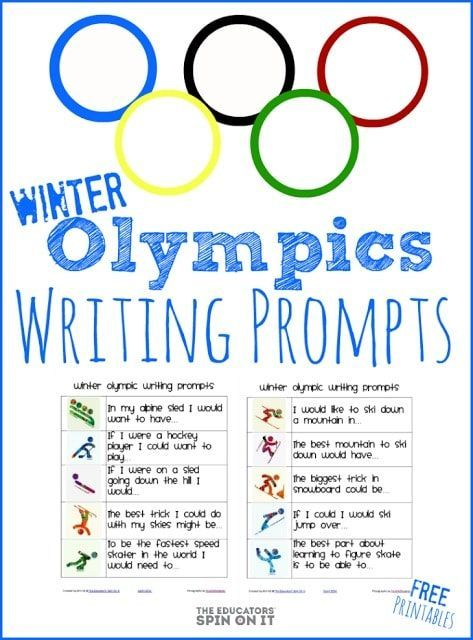 Olympic rings with images of each winter sport highlighting writing prompts for kids