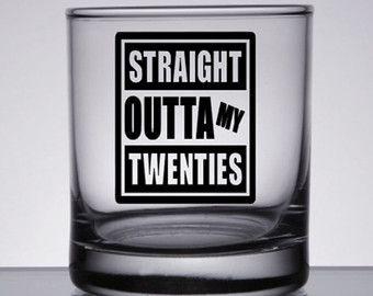 30th Birthday, Straight Outta, 30th Birthday for Him, 30th Birthday Her, Rocks Glass, Birthday Rocks Glass, Dirty Thirty, 30th Rocks Glass