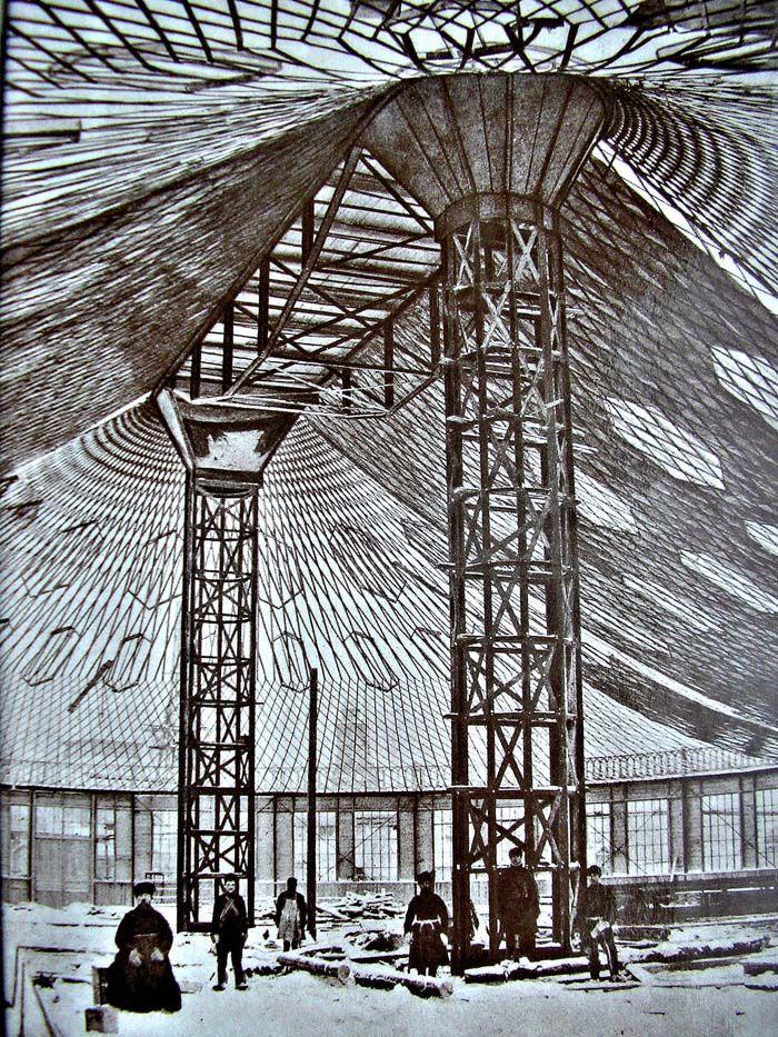 All-Russia exhibition 1896 in Nizhny Novgorod. Oval pavilion by Vladimir Shukhov