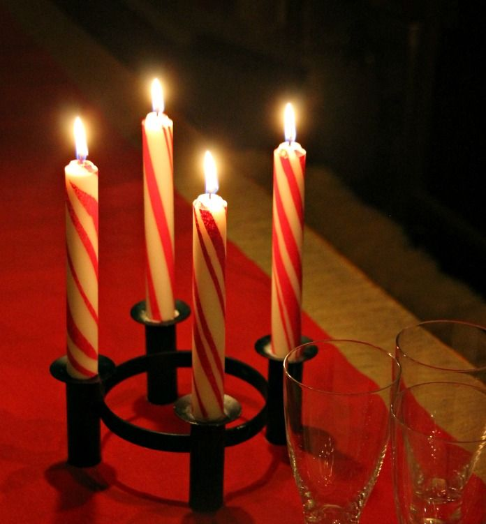 Vintagentti: DIY; Polkagris-kynttilät & glögituunaus