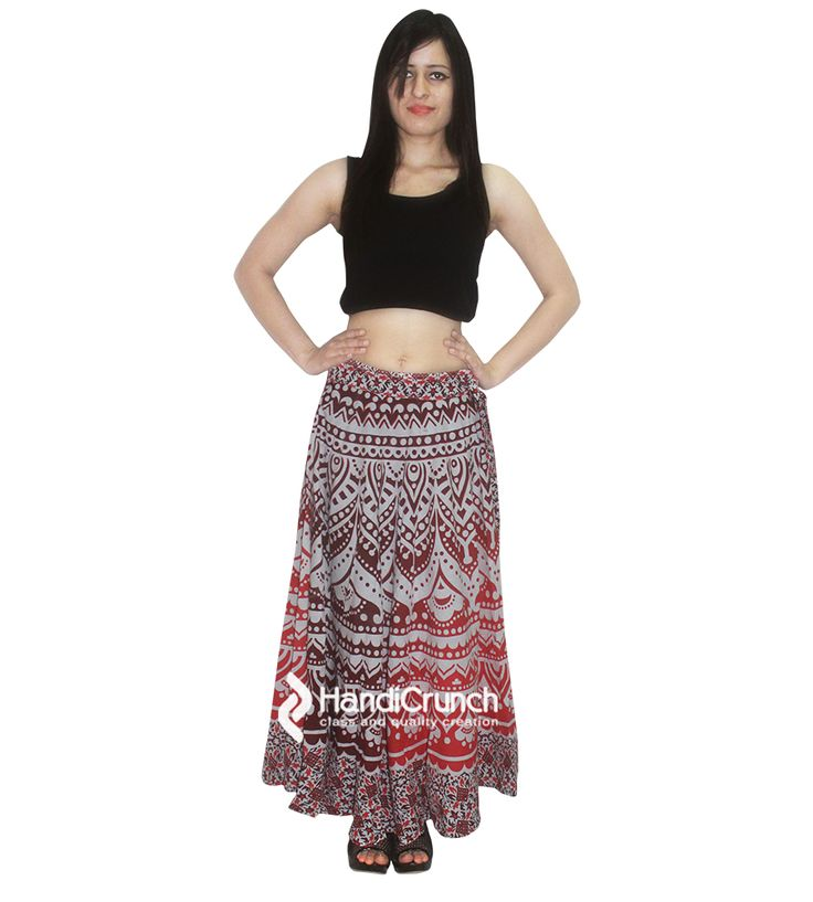 Purple color mandala printed long skirt rapron