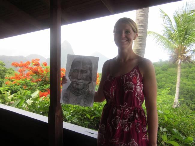 John Carroll with Jennifer (Gardner) Rome '03 on her honeymoon in St. Lucia.