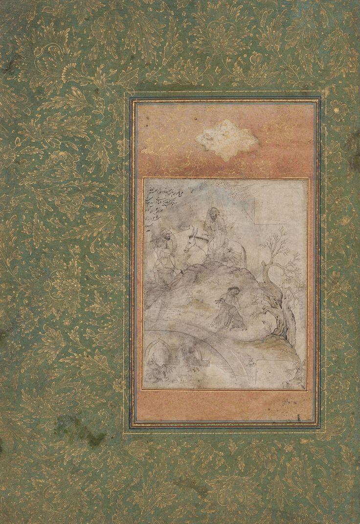 مجنون در حال تیمار سگ خسته، در شیب بالای یک پل، رضا عباسی، اصفهان، سنه 1035 هجری قمری پای سگ بوسید مجنون؛ خلق گفتندش چه بود؟ گفت اين سگ گاه گاهی کوي ليلي رفته بود Rizâ-yi `Abbâsî Style Isfahan Majnûn assis sur une pente au-dessus d'un pont, nourrissant un chien épuisé, 1626 (16/03) Feuille: 136 x 105 mm (dessin); feuille: 348 x 238 mm (montage) Encre noire réhaussé à l'aquarelle sur papier, monté sur un carton vert et encadrement orange, giclés à l'or Cabinet d'art...