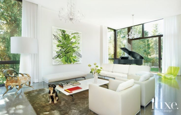 Living room with green wall painting