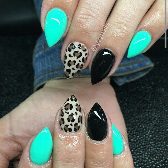 Teal blue, black, and leopard short stiletto nails
