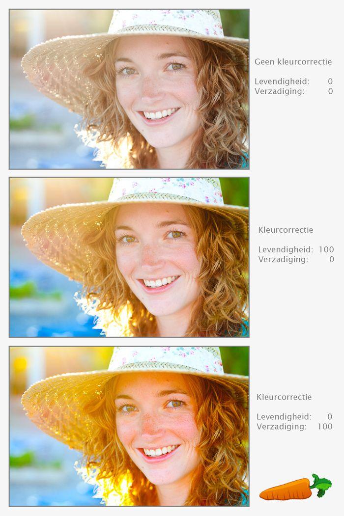 Bij fotobewerking is er een belangrijk verschil tussen levendigheid en verzadiging. Bij goed gebruik maak je van je portret geen wortel.