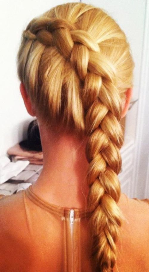 a chunky tight inverted braid