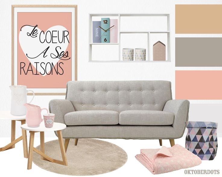 Gorgeous pastel #valentine #livingroom collage with #colorscheme and cute quote #posters by Oktoberdots