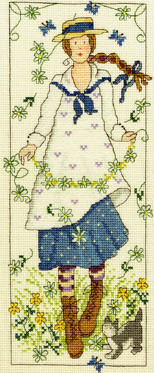 "I love this cross stitch kit from Bothy Threads (a UK needlework company). From a vertical series entitled ""Country Lasses"", this installment, ""Daisy"", is beautiful. The image captures the innocence, flirtatious, and wild aspects of daisies. I love the blue in the girl's dress and the little cat at her feet. Available from ebay: http://www.ebay.com/itm/Bothy-Threads-Counted-Cross-Stitch-Kit-Country-Lass-Daisy-/111079602182?pt=UK_Crafts_CrossStitch_RL=item19dcdc3806"