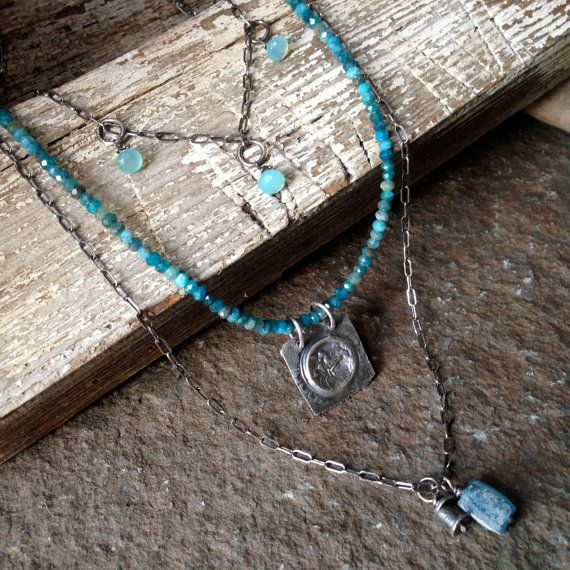 Apatite Necklace, Multistrand Necklace, Pendant, Ancient Jewelry, Roman Glass, Gemstone Necklace, Chalcedony Necklace, Sterling Necklace