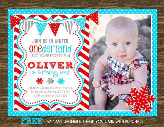 Winter ONEderland Birthday Invitation  Turquoise by SweetGumdrop, $14.50