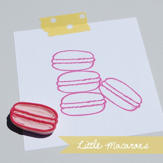 Hand Carved Macaron Rubber Stamps from Fresh Baked Paper Goods
