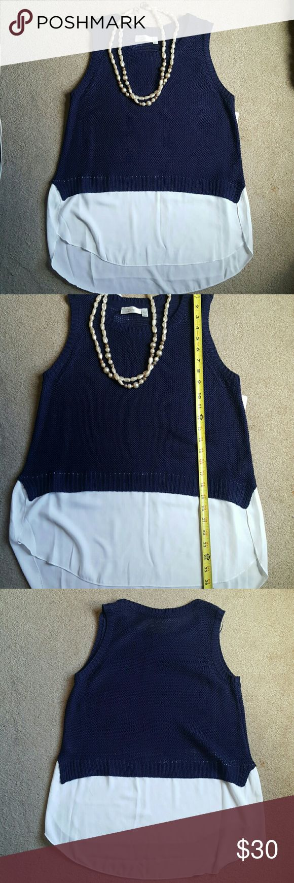Navy sleeveless sweater Cute and light navy sweater top with layered look. 26in from shoulder to bottom of front. Back is 3in longer. Great with leggings,jeans or jean shorts. Spring Vibes. RD Style Sweaters