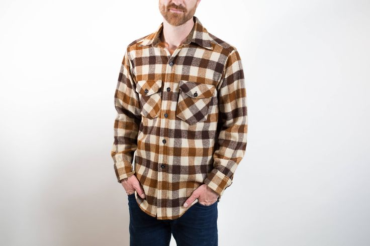 Vintage Eddie Bauer Wool Plaid Shirt / Mens Medium Size Cream and Brown Plaid Outdoors Shirt / Button up Camping Campfire Long Sleeved Top by PrincipalVintage on Etsy