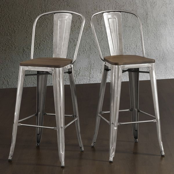 tabouret bistro wood seat gunmetal finish bar stools set of 2 overstock