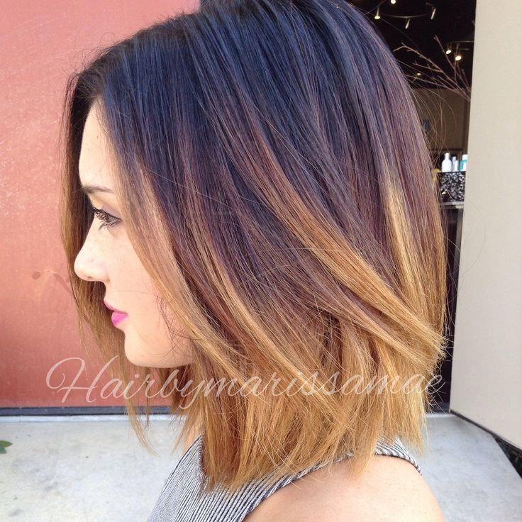 Dramatic color melt on a shoulder length blunt bob. Perfect colors for fall!