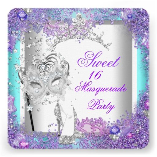 Purple Teal Sweet Sixteen 16 Masquerade Party Invitation