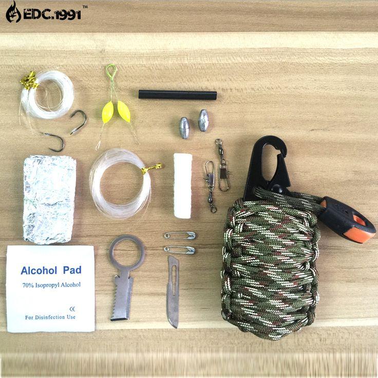 EDC All'aperto Multiuso 2016 nuovo 12 in 1 cavo di Paracord di sopravvivenza di Salvataggio strumenti di pesca, Moschettone Granata Kit Di Sopravvivenza