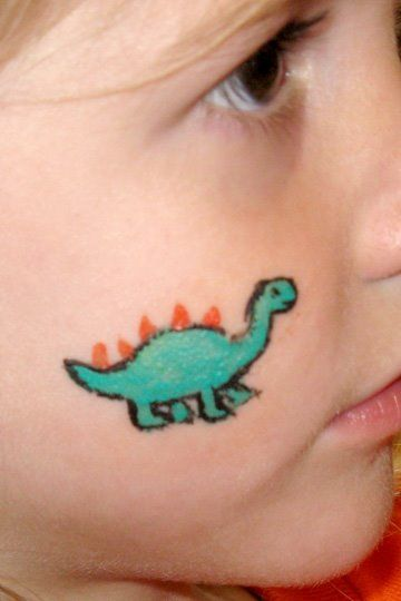 Face paintings dinosaurs and cheek art on pinterest for Small painting ideas