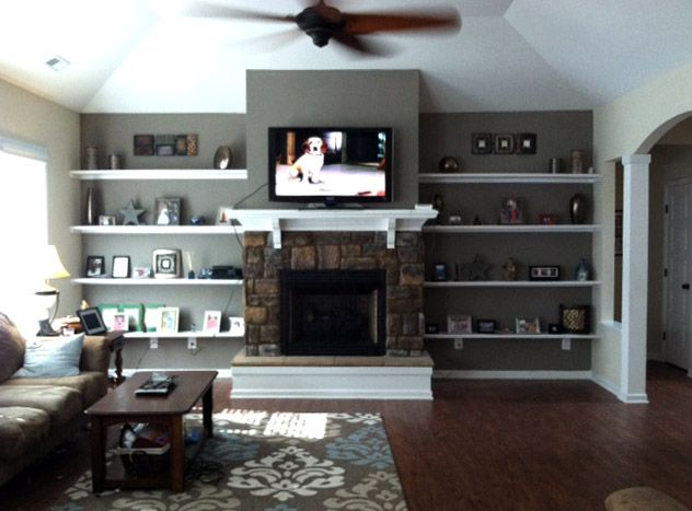 1000 images about for the home on pinterest shelves for Bookshelves next to fireplace