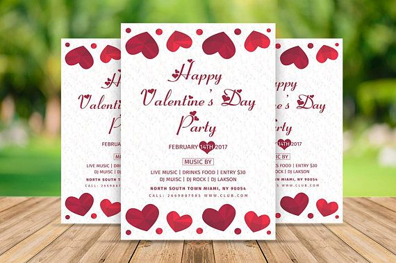 Valentine's Day Party Flyer Valentines Day Party