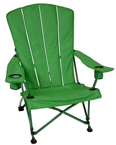 New Big Folding Double Wide Green Adirondack Chair Camp Patio Lawn Cup Holder