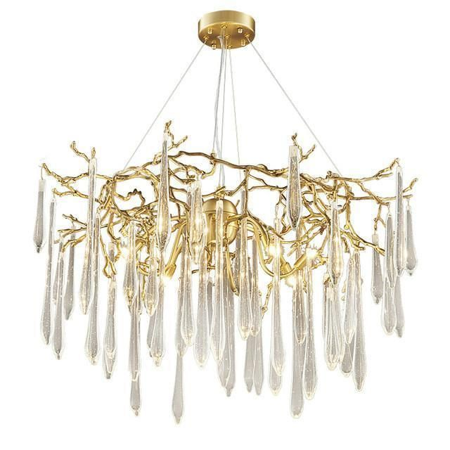 Rain Drops Contemporary Modern Gold Chandelier With Crystals Modern Gold Chandelier Contemporary Chandelier Gold Chandelier