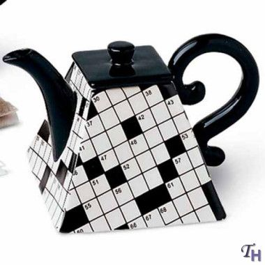 Fitz and Floyd Black  White Crosswords Miniature Teapot