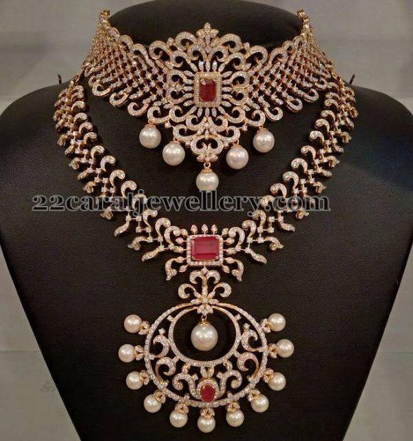 Jewellery Designs: Diamond Mini Haram and Choker