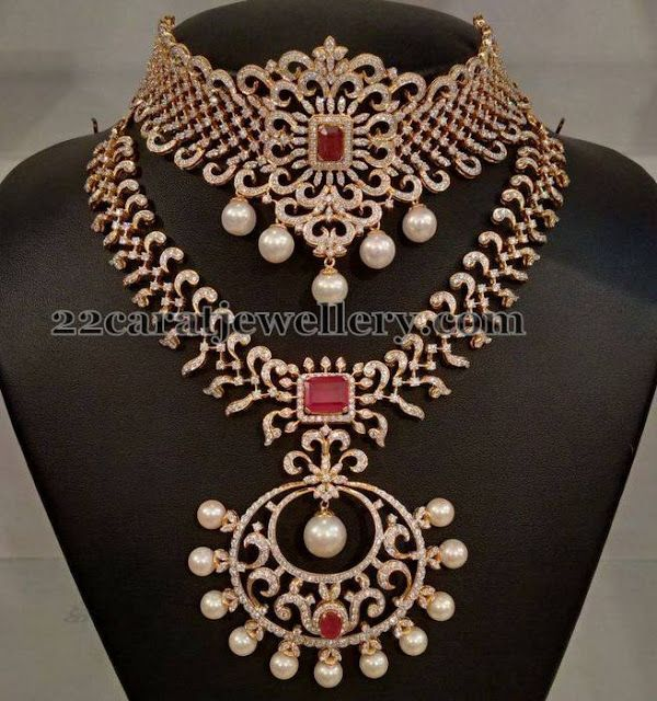 Latest Indian Jewellery Designs 2015: Jewellery Designs: Diamond Mini Haram And Choker