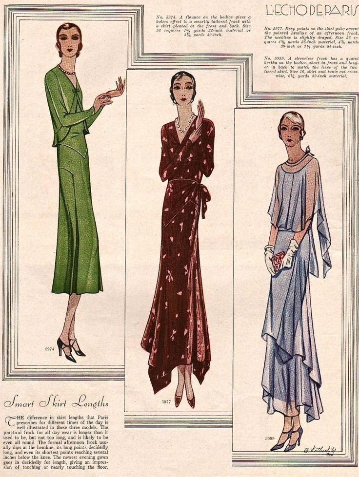 This silhouettes are amazing! L'Echo De Paris   1930 Fashions