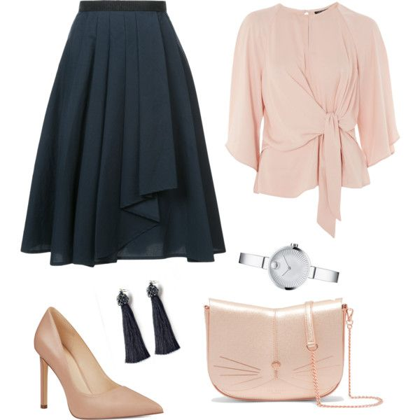 A fashion look from January 2018 featuring pink blouse, ruffle skirt и Nine West. Browse and shop related looks. #elegant #fashion #look