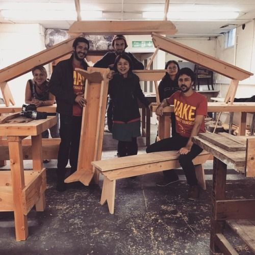 6 completed benches for the cob barn made by these happy MA...