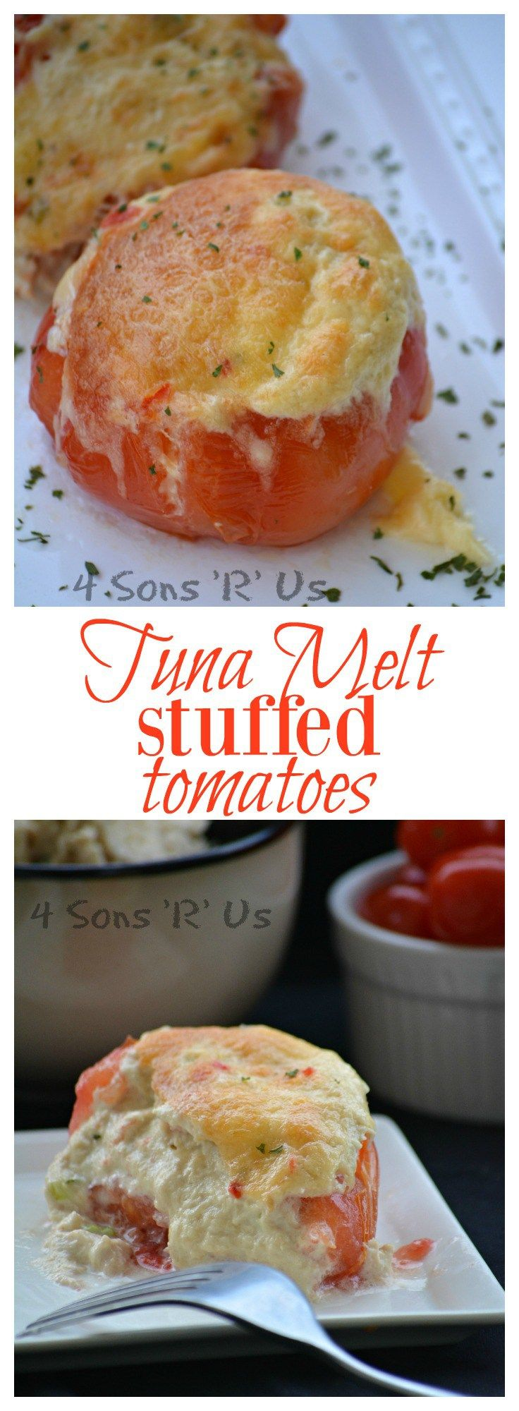 Do you love a good tuna melt? Then these stuffed tomatoes are for you. Ripe, juicy hollowed out tomatoes are stuffed with hearty tuna salad before being topped with spiced Havarti cheese. Just like the iconic open faced sandwich these are baked in the oven– roasting the tomatoes and baking their flavor right in.