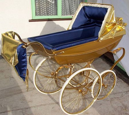 Gold plated pram with sound system Price: $6,000 Perfect for a rich décor, this luxury gold pram features blue satin lining and ultra luxuriant ermine fur inside for the soft feel. Not only comfort but the kid will learn and respond to the nursery rhymes as a clockwork music box is inserted that will ensure a sound sleep for the baby.