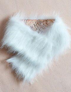 Kadın Kalın Suni Kürk ½ Kol Uzunluğu V Yaka,Beyaz / Bej / Siyah / Sarı Kış Solid Sokak Şıklığı Günlük/Sade-Kadın Kürk Mont