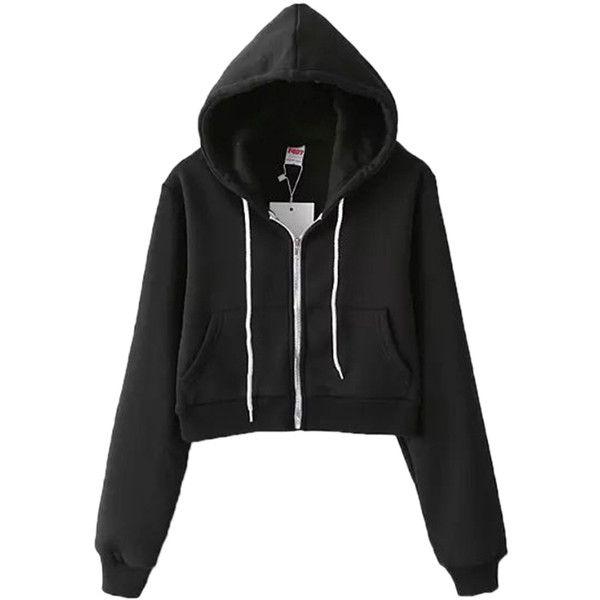 Black Casual Ladies Long Sleeves Classic Zipper Short Plain Hoodie (1,390 DOP) ❤ liked on Polyvore featuring tops, hoodies, black, black hoodie, black zipper hoodie, long sleeve hoodie, zippered hooded sweatshirt and zip hoodie