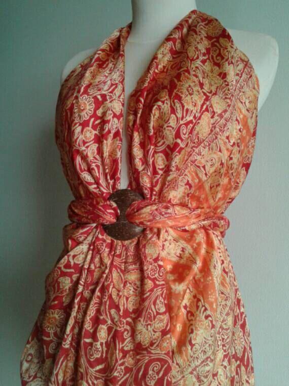 Fabulous Fiery Read and Orange Floral Silk by JavaniceHandyCraft