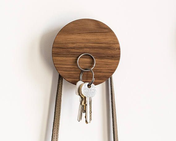 Walnut key holder and wall hook, 2 in 1, magnetic key holder, walnut wall hook, coat hanger, modern wall hook
