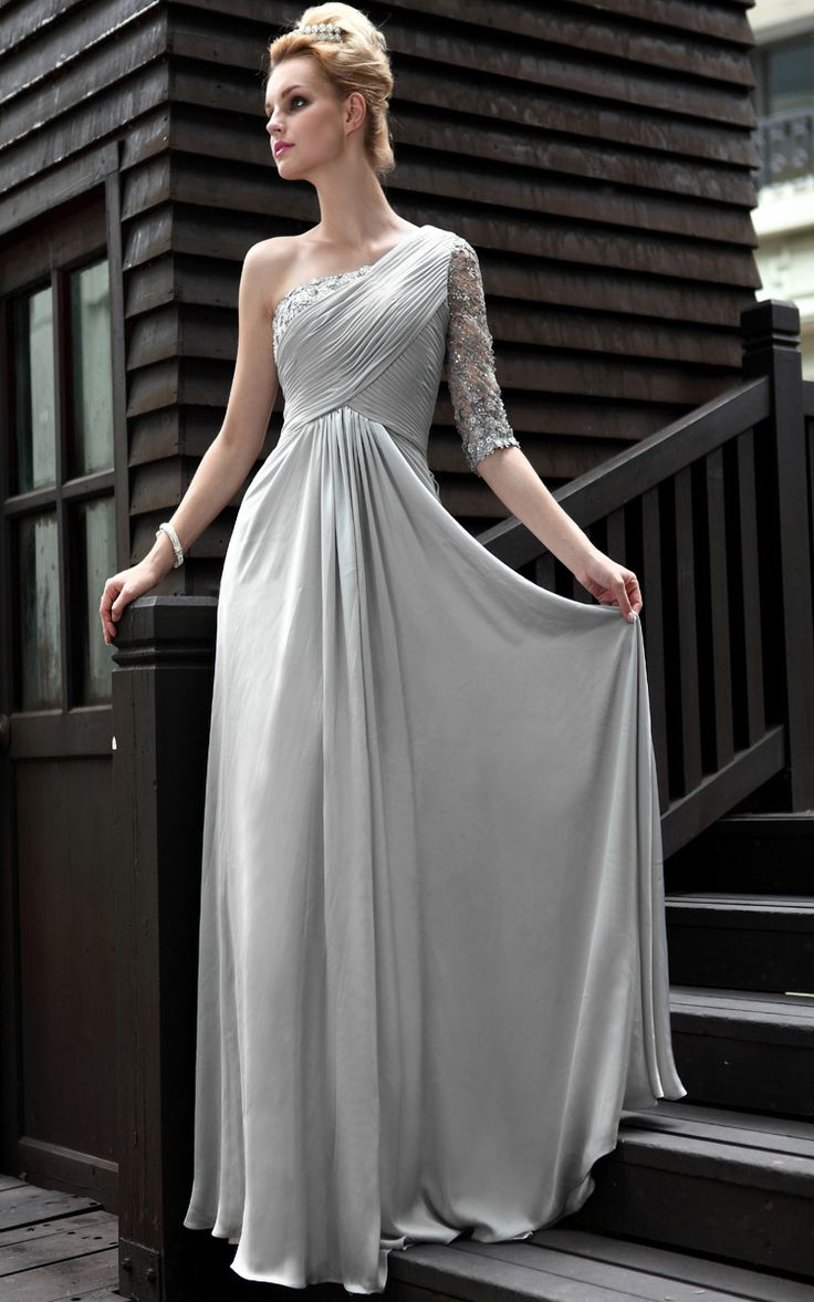 8 best silver dresses images on pinterest bride dresses cap silver one shoulder floor length evening dress with half lace sleeve ombrellifo Choice Image