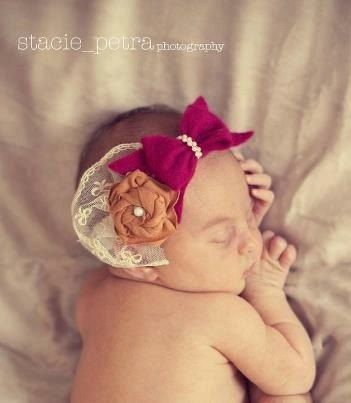 Indi Winter baby girl headband berry felt bow lace by EverTheDream